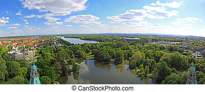 Hannover Park - Lake and Park Panorama in Hanover Germany