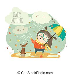 Cute girl playing in rain with umbrella