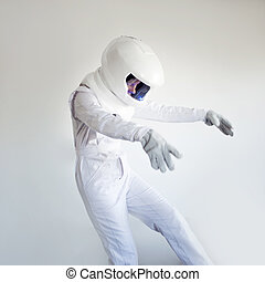 Weightlessness. Fantastic space suit. Astronaut floating in...