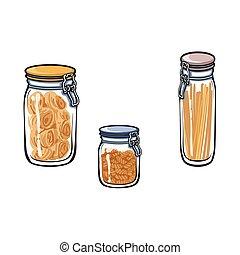 vector glass jar with swing top lid set sketch - vector...