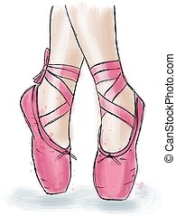 Pink ballerina shoes. Ballet pointe shoes with ribbon. Hand...