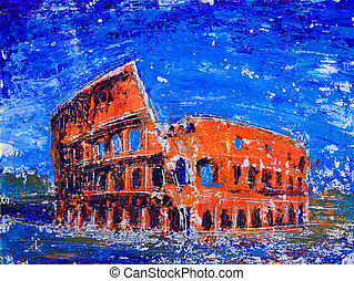 Roman cityscape of the Colosseum painted by acryl