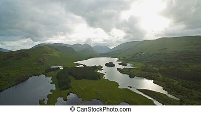 Aerial Around Tawnyard Lough, County Mayo, Ireland - Graded...