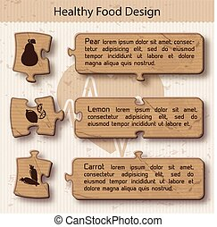 Healthy food Concept Puzzle Design - Healthy food concept...