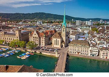 Zurich. - Aerial image of Zurich, Switzerland during sunny...