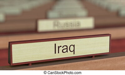 Iraq name sign among different countries plaques at...