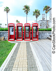 Four Red Phone Booths - Old classic British red phone booths...