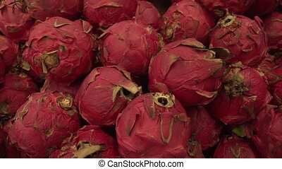 Pitaya or pitahaya sold in supermarket stock footage video -...