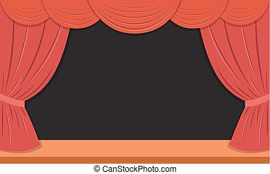 theater stage with red curtains