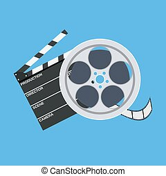 cinema clap and film reel. Vector illustration in flat style