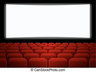 Rows of red seats in front of white blank screen. Vector...