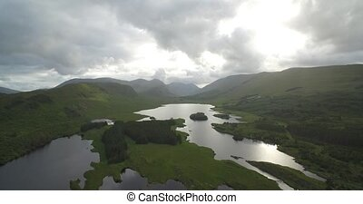 Aerial Around Tawnyard Lough, County Mayo, Ireland - Native...