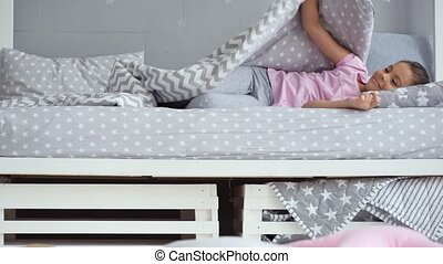 Cute little girl waking up in the morning - Lets start a new...