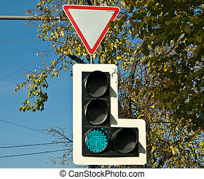 Trafficlight in a city