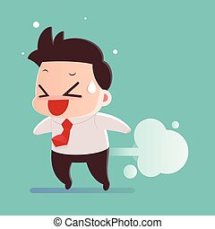 Men farting with blank balloon out from his bottom vector,...