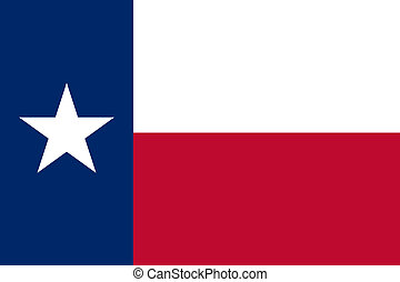 Texas state flag of America, isolated on white background