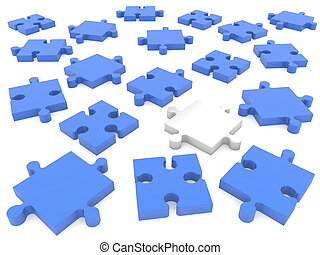 Scattered pieces of puzzle