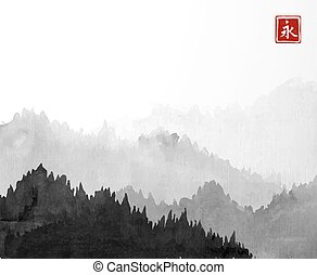 Black Mountains with forest trees in fog on white background. Hieroglyph - eternity. Traditional oriental ink painting sumi-e, u-sin, go-hua