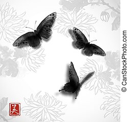 Butterflies hand drawn with ink on background with chrysanthemum flowers. Contains hieroglyph - beauty. Traditional oriental ink painting sumi-e, u-sin, go-hua. Minimalistic vector illustration