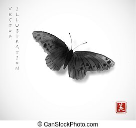 Black butterfly hand drawn with ink on white background. Contains hieroglyph - beauty. Traditional oriental ink painting sumi-e, u-sin, go-hua. Minimalistic vector illustration