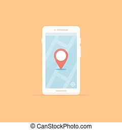 Location - White smartphone with map and location marker...
