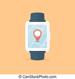 Location - Smartwatch with map and location marker shown on...