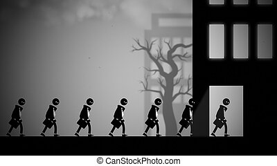 Dystopian illustration of white-collar workers going to work...