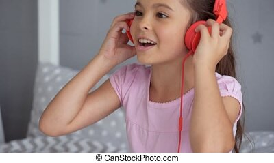 Positive little girl singing her favourite song - Upbeat...