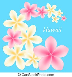 Background with frangipani flowers. Vector illustration.