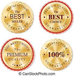 Set of golden vector metal badges.