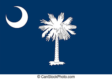 South Carolina state flag of America, isolated on white...