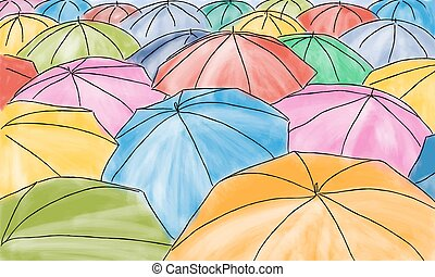Colored umbrellas in the rain - pattern