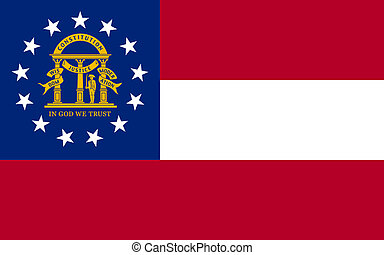 Georgia state flag of America, isolated on white background.