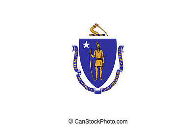 Massachusetts state flag of America, isolated on white...