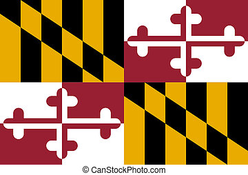Maryland state flag of America, isolated on white background...