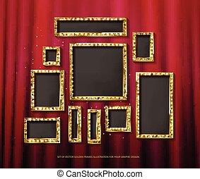 Set of gold vector frames cinema - Mega set of retro frames...