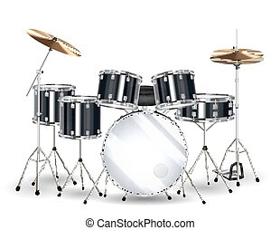 real black drum set on a white background
