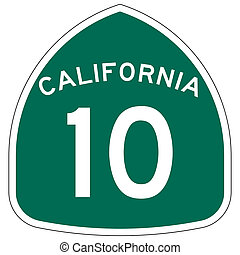 California route or highway 10 sign