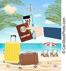 hand hold passport boarding pass travel to beach