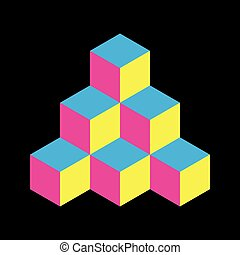 Pyramid of cubes in CMYK colors. 3D vector illustration...
