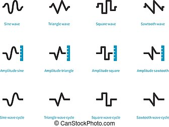 Sound types duotone icons on white background. Vector...