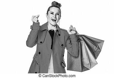 mujer, comprador, dedos chasqueantes, elegante, sonriente,...