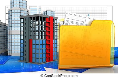 3d illustration of building construction with urban scene...