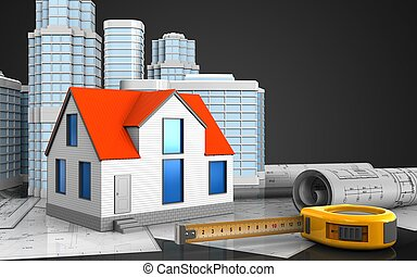3d of ruler - 3d illustration of generic house with urban...