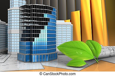3d with urban scene - 3d illustration of office building...