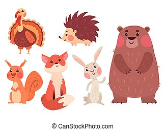 Set of cute wild animals and a turkey bird isolated on white...