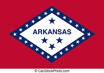 Arkansas state flag of America, isolated on white...