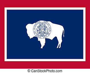 Wyoming state flag of America, isolated on white background.