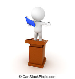 3D Character sitting on top of a lectern and preaching from book