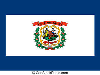 West Virginia state flag of America, isolated on white...